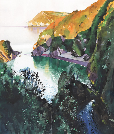 Broadsands Beach, Combe Martin, Devon,  Original Watercolour Painting