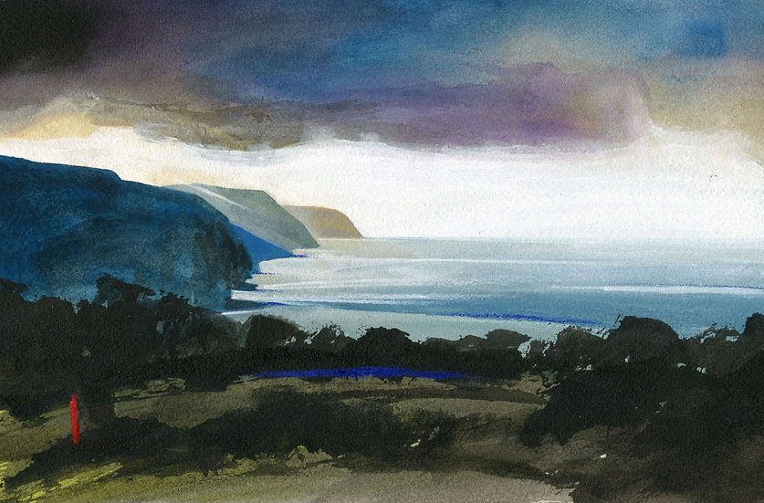 Stormy Skies, Exmoor, Original Watercolour Painting