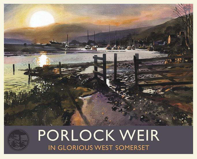 Porlock Weir Print (with text), Somerset Travel Poster