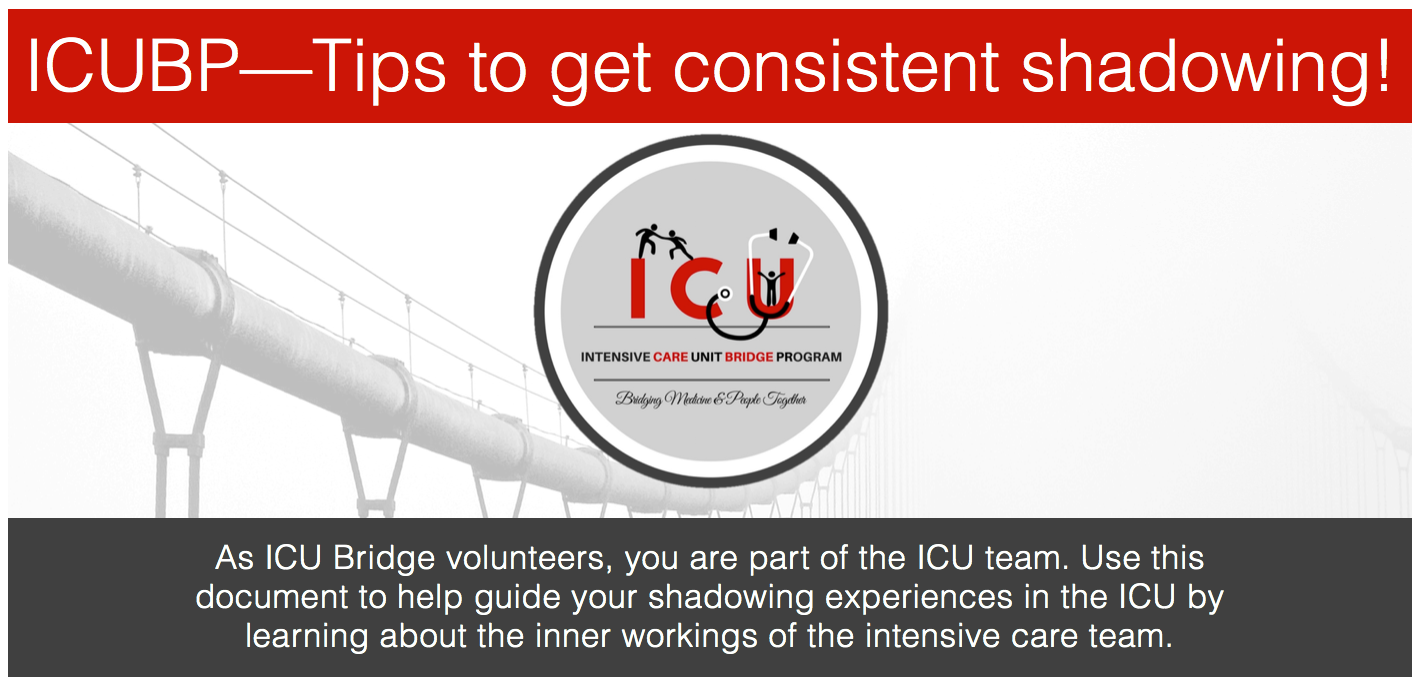 Icu bridge program how to apply not only allows volunteers to better understand the terminology used while shadowing but to also direct and better target their interests while looking xflitez Images