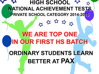 PAX #1 High School National Achievement Tests – Private School 2014-2015