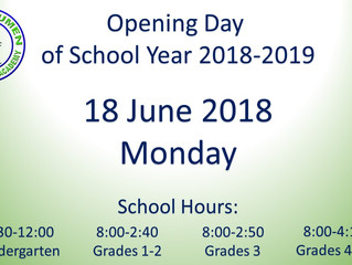 Opening of Classes for SY 2018-2019