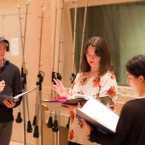 Coaching students in the middle of a recording session