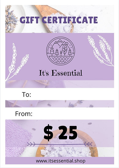 Gift Certificate $ 25