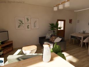 Visuel 3D vue depuis cuisine avec soleil
