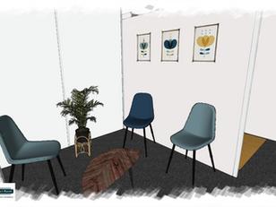 Croquis salle d'attente vintage scandinave
