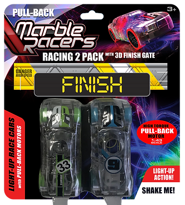 Pull-Back Marble Racers 2 Pack with Finish Gate