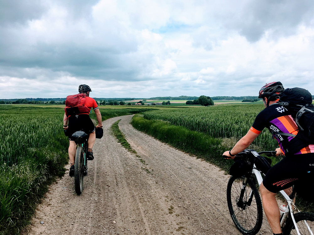 Bikepacking trip gravel road in Waals Brabant