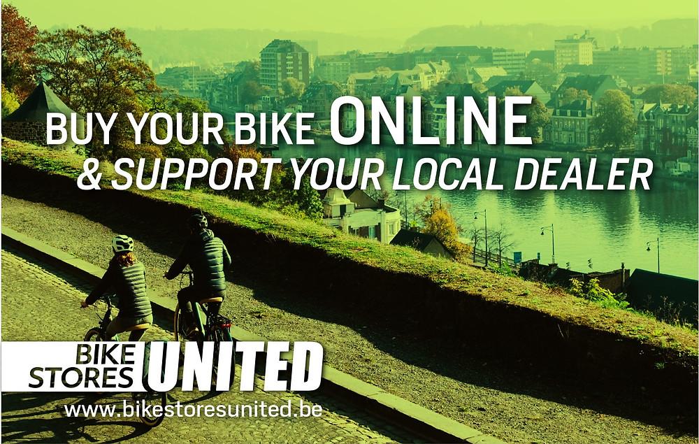 Banner Bike Store United verdeler Scott en Bergamont