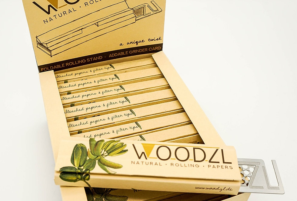 WOODZL King Size Slim Papers with tips + rotating tray + grinder card compartment