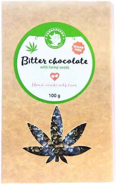 Zartbitter Schokolade mit Hanfsamen - ZUCKERFREI