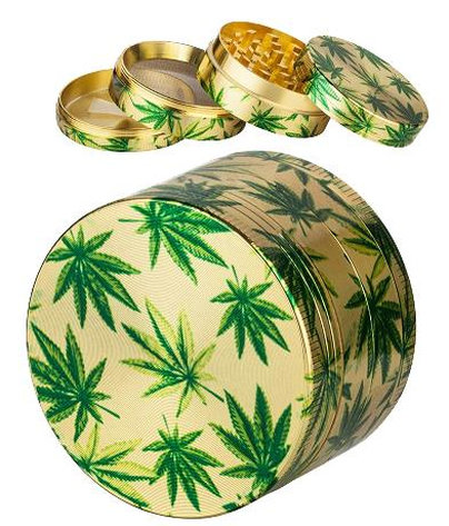"Grinder ""hemp leaf"" gold 4-part, Ø 5cm"