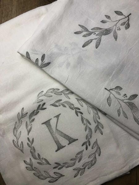 Initial & greenery Towel - Erika Caruana