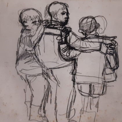 Three Boys with Linked Arms. Study for Children, Port Glasgow.