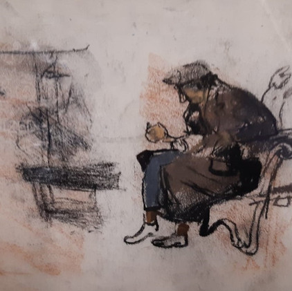 Sketch of Woman on Edge of Garden Bench