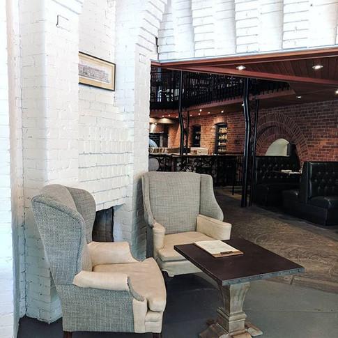 The twins in the cafe _rowhousebuffalo ☕__#uholstery #textiles #cafe #bakery #buffalo