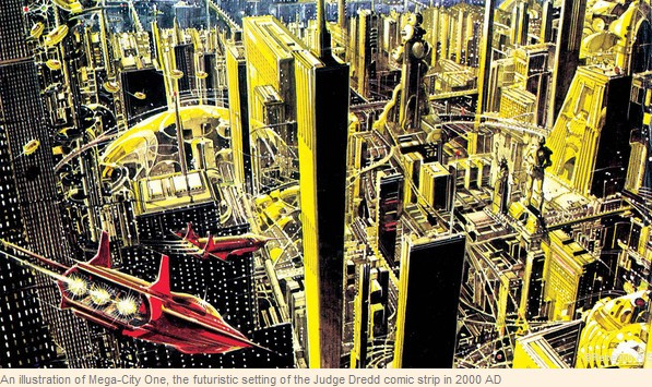 An illustration of Mega-City One, the futuristic setting of the Judge Dredd comic strip in 2000 AD