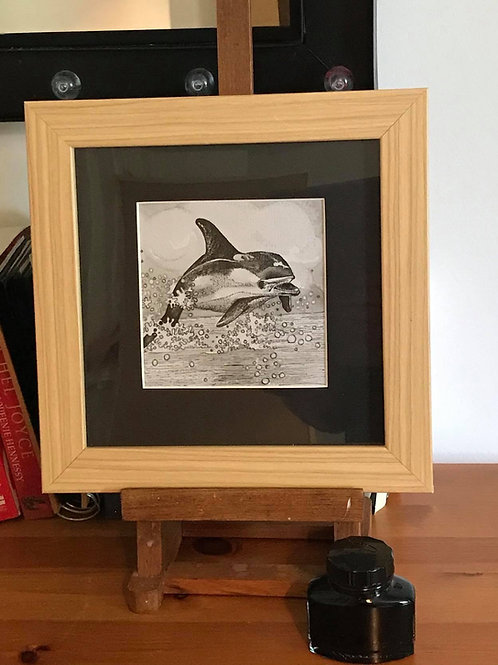 Dolphin original pen and ink, framed.