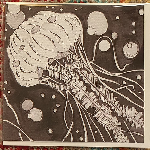 Jellyfish blank greetings card (15cm x 15cm)