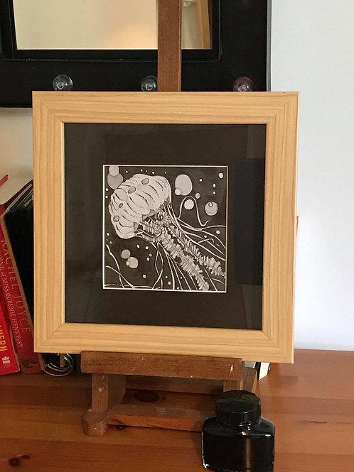 Jellyfish original pen and ink, framed.