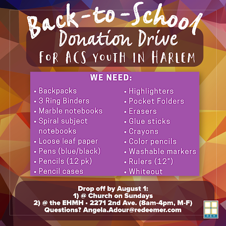 Donation Drive for ACS Youth in Harlem