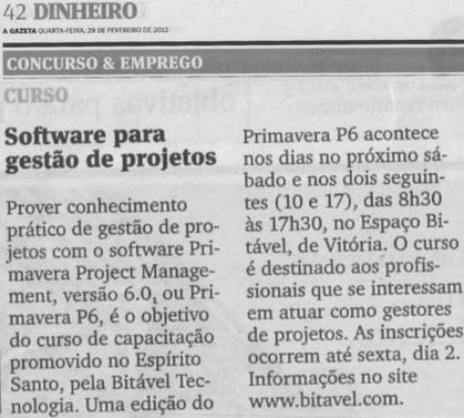 Curso Primavera P6 - A Gazeta