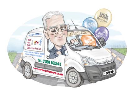 Colour digital retirement caricature personalised gift