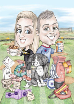 digital caricature illustration personalised wedding gift for happy couple   picky pencil caricature commission