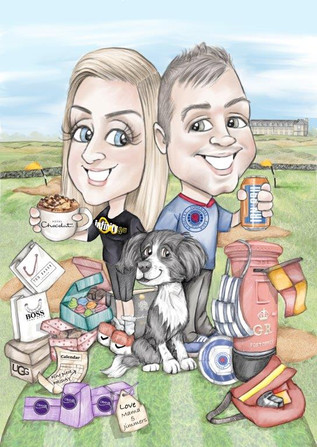 digital caricature illustration personalised wedding gift for happy couple | picky pencil caricature commission