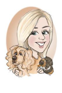 pet portrait caricature drawing of female friend , gerbil and cocker spaniel   picky pencil pet caricaturist