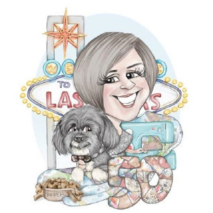 50th personalised birthday gift for a female friend dog and las vegas theme | picky pencil caricature commission