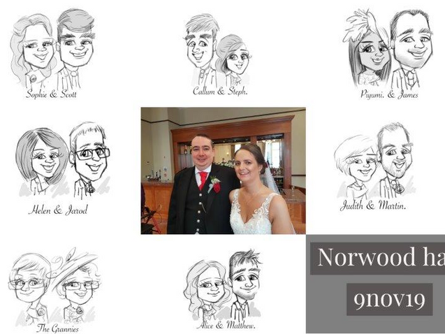 Norwood hall wedding entertainer live caricatures | picky pencil artist at your wedding