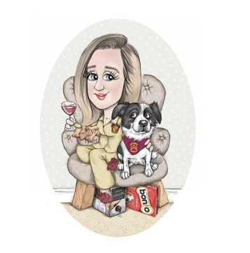 christmas caricature gift for a woman and her pet collie harry potter theme caricature commission | picky pencil caricaturist