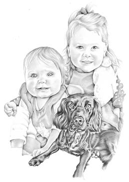 Pencil graphite portrait of sister and spaniel