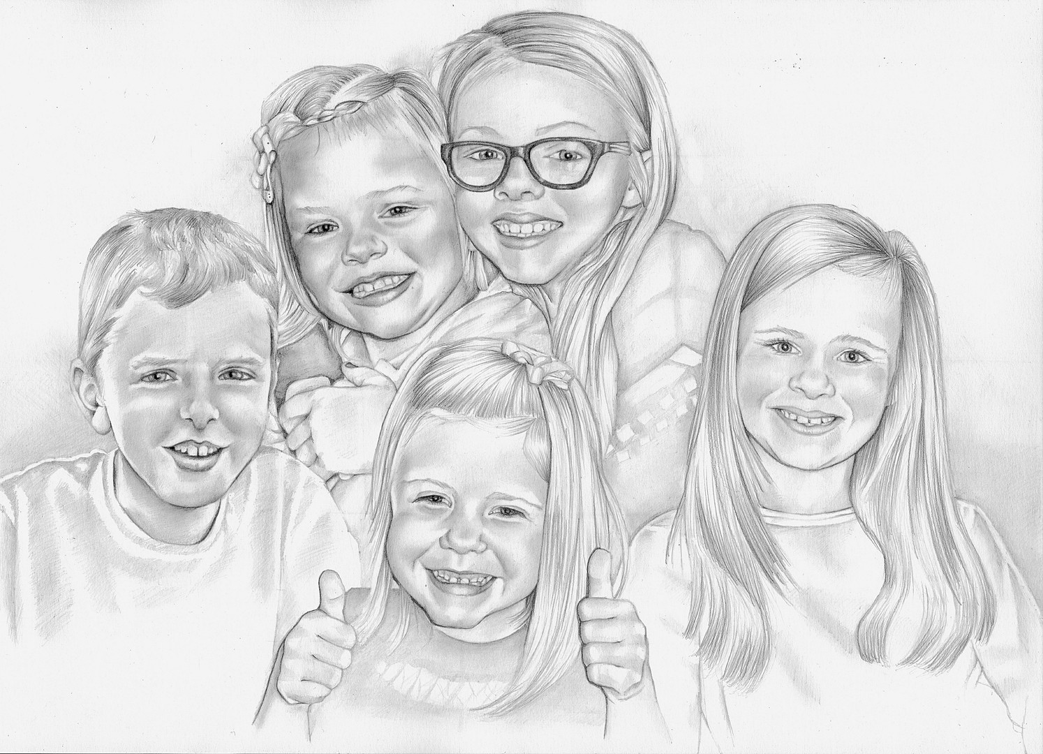 Extended family photo realistic family portrait | picky pencil