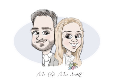 Couples wedding cartoon free from picky pencil included in our wedding entertainment package