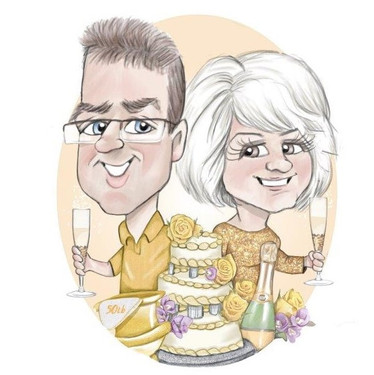 wedding anniversary funny gift personal for mum and dad | picky pencil anniversary caricature