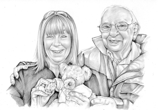 editorial black and white memorial editorial realistic drawing of family generations   picky pencil illustration artist