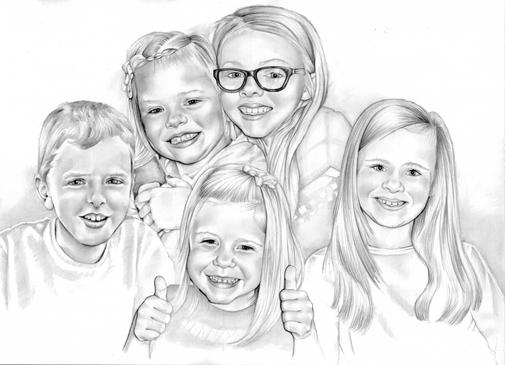 Pencil graphite portrait collage of grandchildren | picky pencil