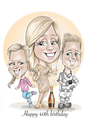 40th birthday caricature full length caricature of female friend and children | picky pencil family caricature