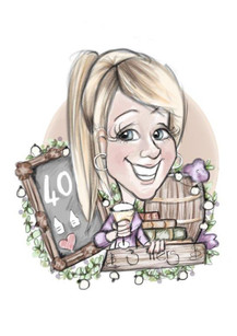 Digital caricature personal funny 40th birthday commission for a female friend | picky pencil caricature illustration