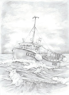Boat realistic drawing illustration | picky pencil