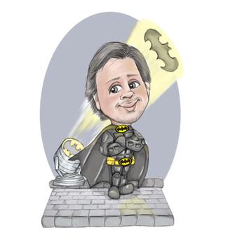 Corporate digital long service award personalised presentation batman theme | picky pencil caricature commission