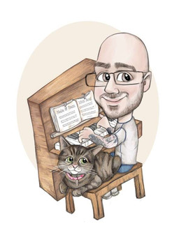 digital colour music and cat theme birthday gift for him | picky pencil caricature commission artist