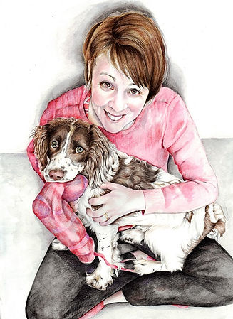 person and pet portrait by picky pencil.