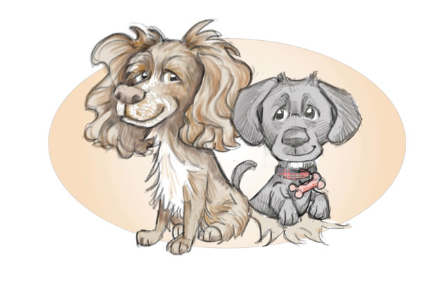 picky pencil dog caricature drawing