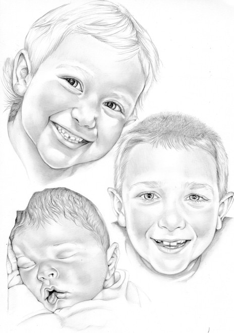 Graphite siblings head realistic portrait drawing | picky pencil