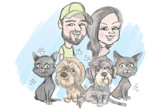 family caricature drawing ipad artist dog and cat cartoons | picky pencil pet caricatures