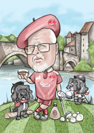 Aberdeen football fan golf theme retirement caricature commission with pet spaniels | picky pencil caricaturist