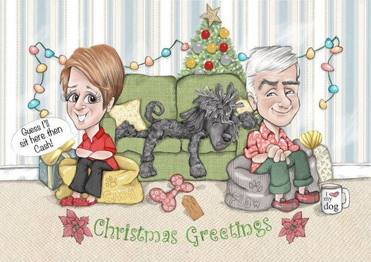colour digital funny personalised christmas card design of couple and pet poodle | picky pencil caricature artist